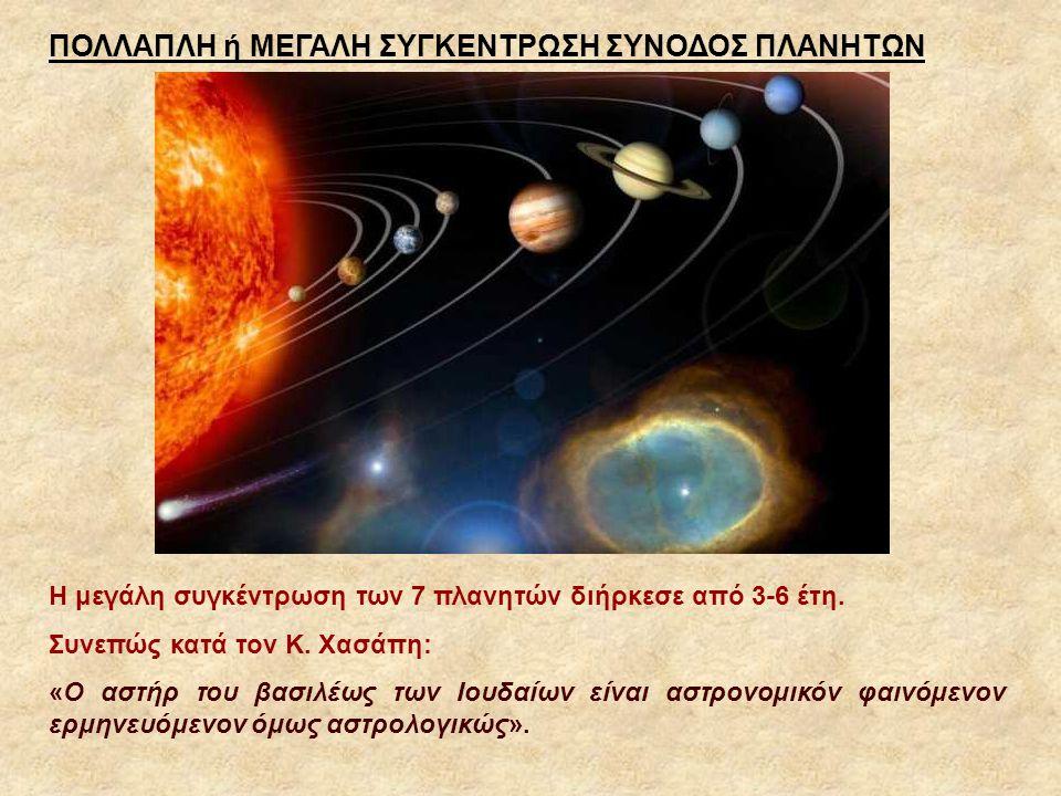 Η μεγάλη συγκέντρωση των 7 πλανητών διήρκεσε από 3-6 έτη. Συνεπώς κατά τον Κ. Χασάπη: «Ο αστήρ του βασιλέως των Ιουδαίων είναι αστρονομικόν φαινόμενον
