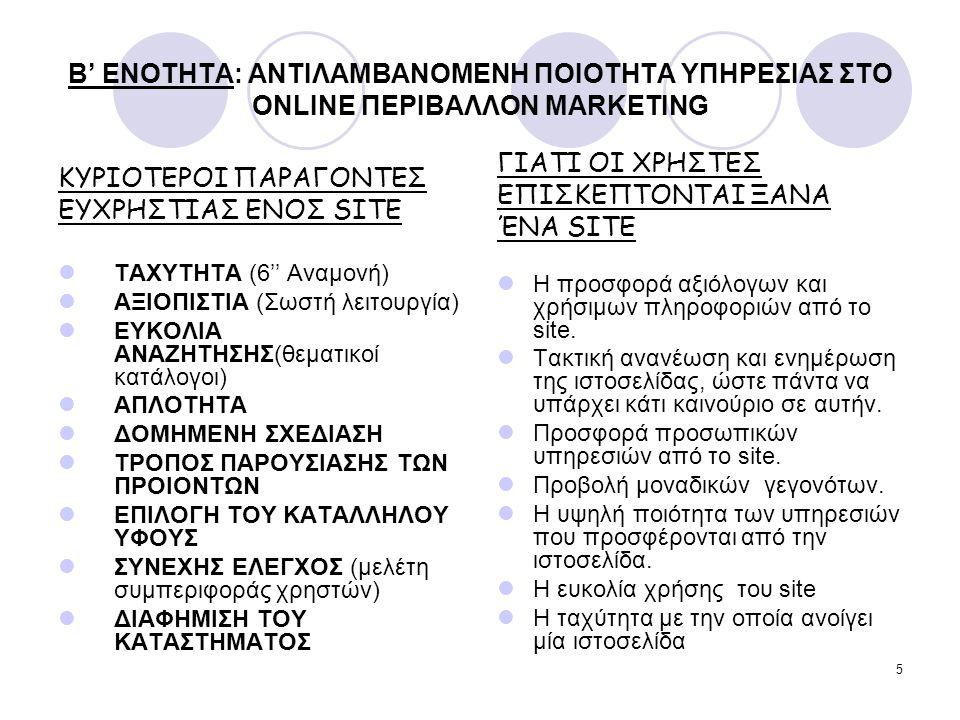 5 B' ENOTHTA: ΑΝΤΙΛΑΜΒΑΝΟΜΕΝΗ ΠΟΙΟΤΗΤΑ ΥΠΗΡΕΣΙΑΣ ΣΤΟ ONLINE ΠΕΡΙΒΑΛΛΟΝ MARKETING ΚΥΡΙΟΤΕΡΟΙ ΠΑΡΑΓΟΝΤΕΣ ΕΥΧΡΗΣΤΙΑΣ ΕΝΟΣ SITE ΤΑΧΥΤΗΤΑ (6'' Αναμονή) ΑΞΙ