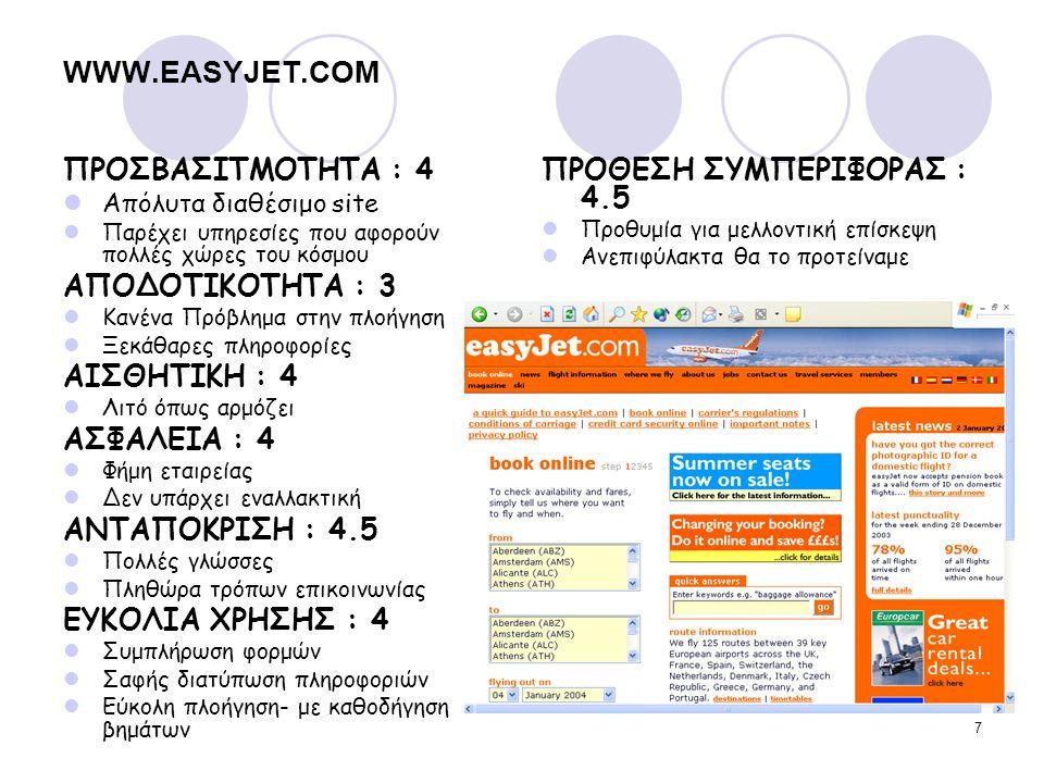 7 WWW.EASYJET.COM ΠΡΟΣΒΑΣΙΤΜΟΤΗΤΑ : 4 Απόλυτα διαθέσιμο site Παρέχει υπηρεσίες που αφορούν πολλές χώρες του κόσμου ΑΠΟΔΟΤΙΚΟΤΗΤΑ : 3 Κανένα Πρόβλημα σ