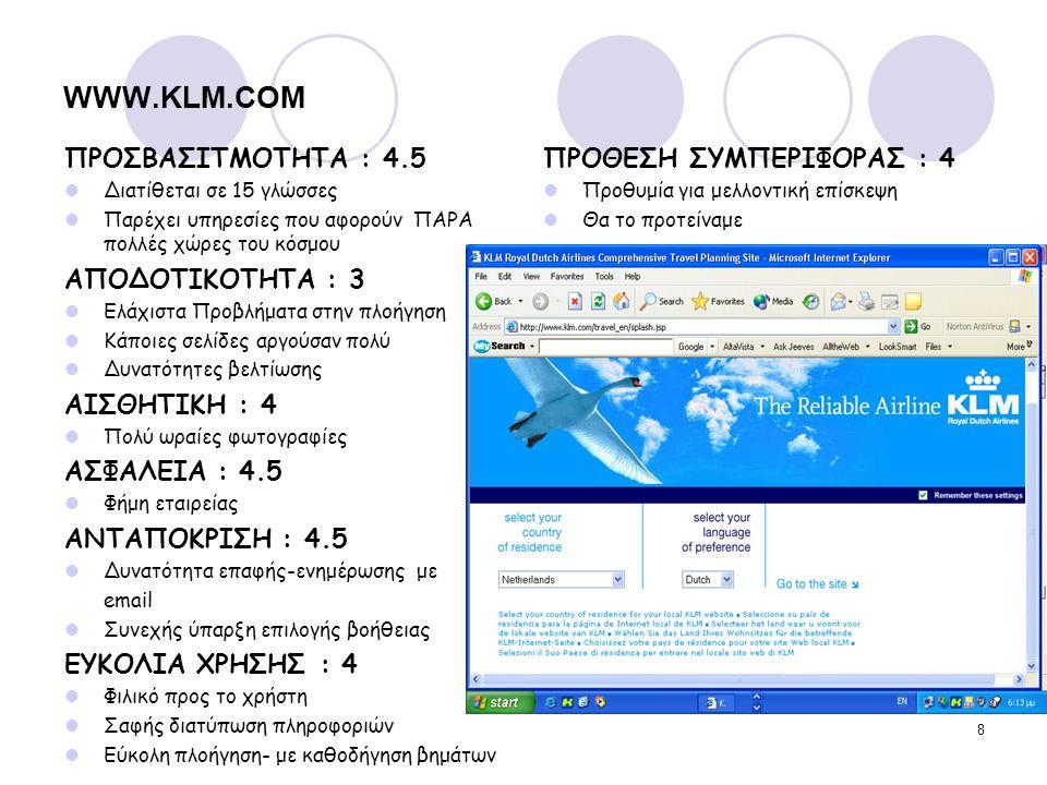8 WWW.KLM.COM ΠΡΟΣΒΑΣΙΤΜΟΤΗΤΑ : 4.5 Διατίθεται σε 15 γλώσσες Παρέχει υπηρεσίες που αφορούν ΠΑΡΑ πολλές χώρες του κόσμου ΑΠΟΔΟΤΙΚΟΤΗΤΑ : 3 Ελάχιστα Προ