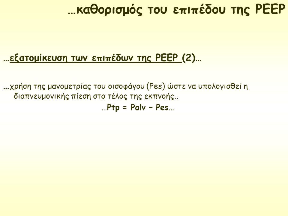…εξατομίκευση των επιπέδων της ΡΕΕΡ (2)… … χρήση της μανομετρίας του οισοφάγου (Pes) ώστε να υπολογισθεί η διαπνευμονικής πίεση στο τέλος της εκπνοής.