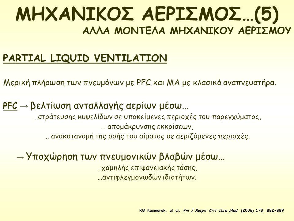 PARTIAL LIQUID VENTILATION Μερική πλήρωση των πνευμόνων με PFC και ΜΑ με κλασικό αναπνευστήρα. PFC → βελτίωση ανταλλαγής αερίων μέσω… …στράτευσης κυψε