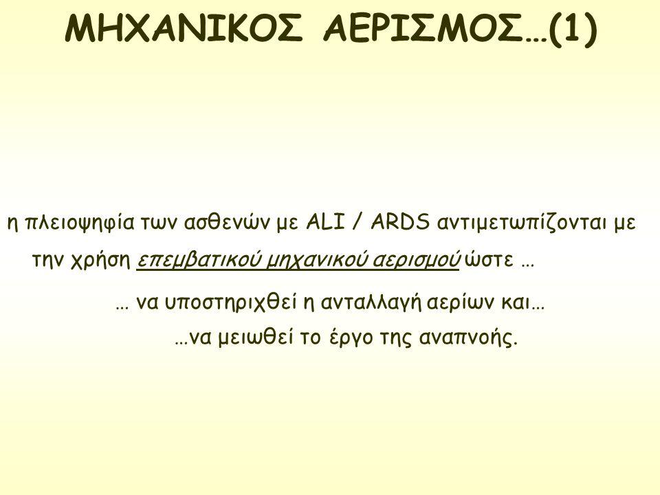 η πλειοψηφία των ασθενών με ALI / ARDS αντιμετωπίζονται με την χρήση επεμβατικού μηχανικού αερισμού ώστε … … να υποστηριχθεί η ανταλλαγή αερίων και… …