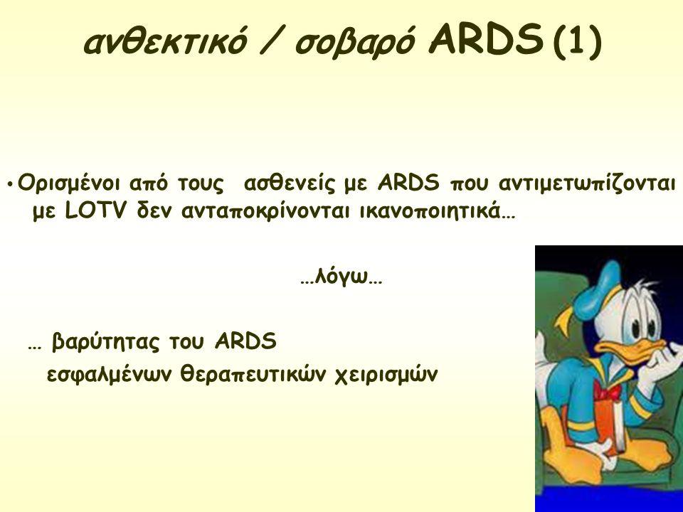 Ορισμένοι από τους ασθενείς με ARDS που αντιμετωπίζονται με LΟTV δεν ανταποκρίνονται ικανοποιητικά… …λόγω… … βαρύτητας του ARDS εσφαλμένων θεραπευτικώ
