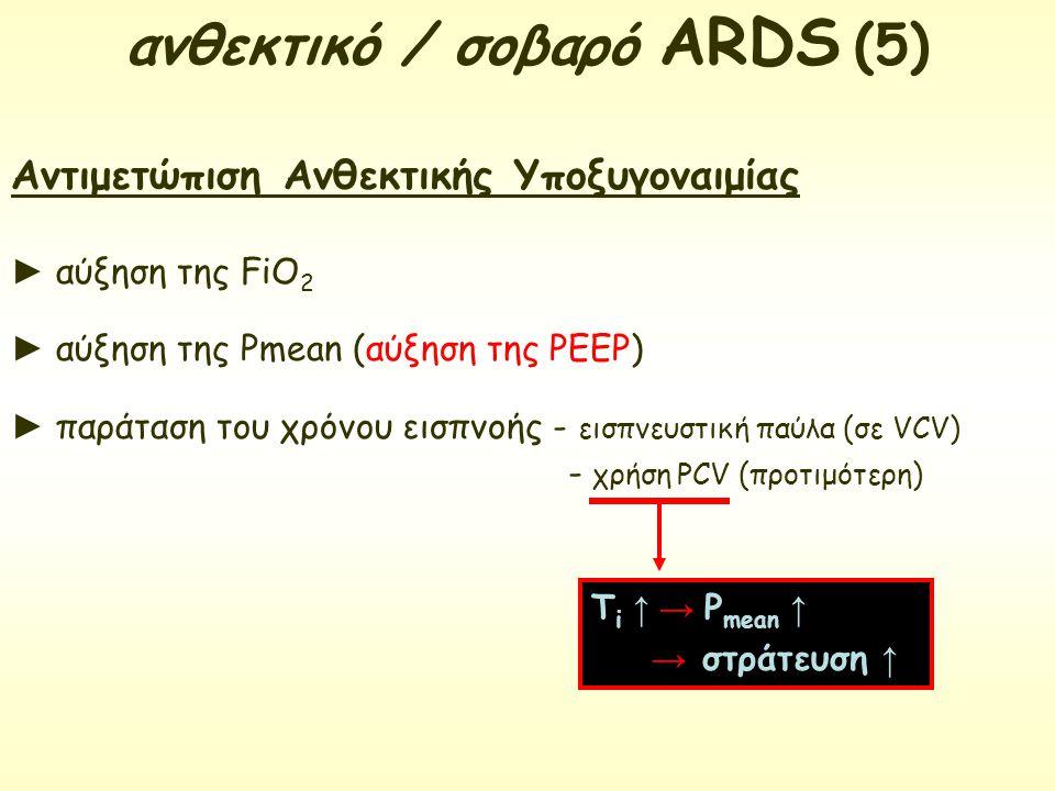 Αντιμετώπιση Ανθεκτικής Υποξυγοναιμίας ► αύξηση της FiO 2 ► αύξηση της Pmean (αύξηση της PEEP) ► παράταση του χρόνου εισπνοής - εισπνευστική παύλα (σε
