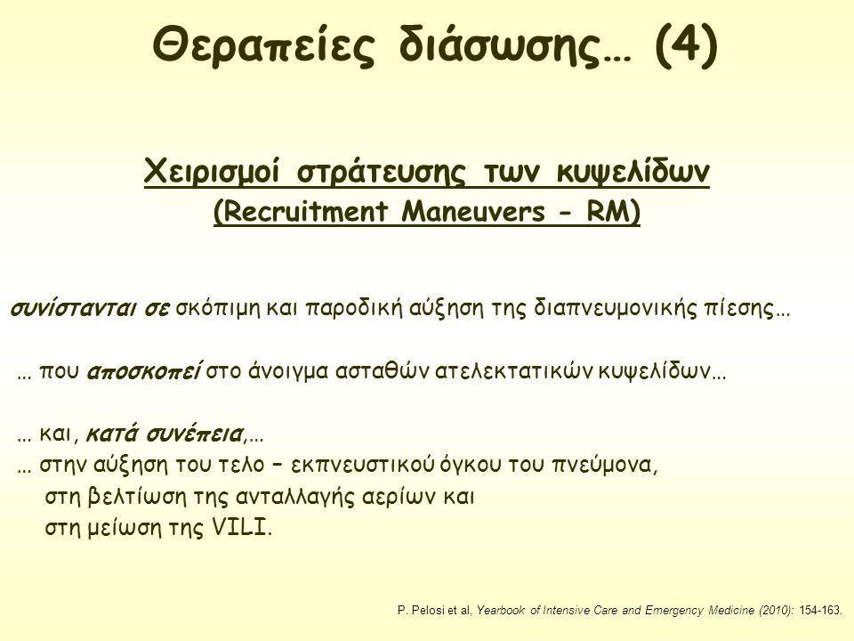 Χειρισμοί στράτευσης των κυψελίδων (Recruitment Maneuvers - RM) συνίστανται σε σκόπιμη και παροδική αύξηση της διαπνευμονικής πίεσης… … που αποσκοπεί