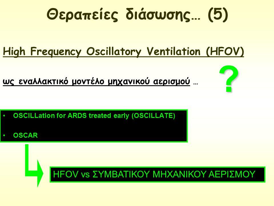 OSCILLation for ARDS treated early (OSCILLATE) OSCAR HFOV vs ΣΥΜΒΑΤΙΚΟΥ ΜΗΧΑΝΙΚΟΥ ΑΕΡΙΣΜΟΥ High Frequency Oscillatory Ventilation (HFOV) ως εναλλακτικ