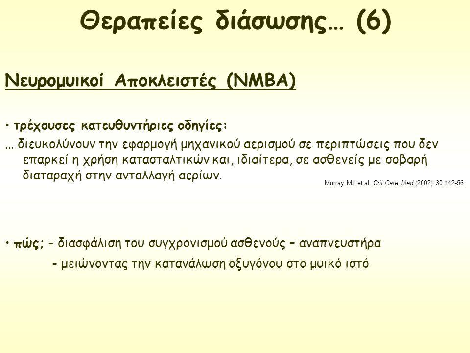 Νευρομυικοί Αποκλειστές (ΝΜΒΑ) τρέχουσες κατευθυντήριες οδηγίες: … διευκολύνουν την εφαρμογή μηχανικού αερισμού σε περιπτώσεις που δεν επαρκεί η χρήση