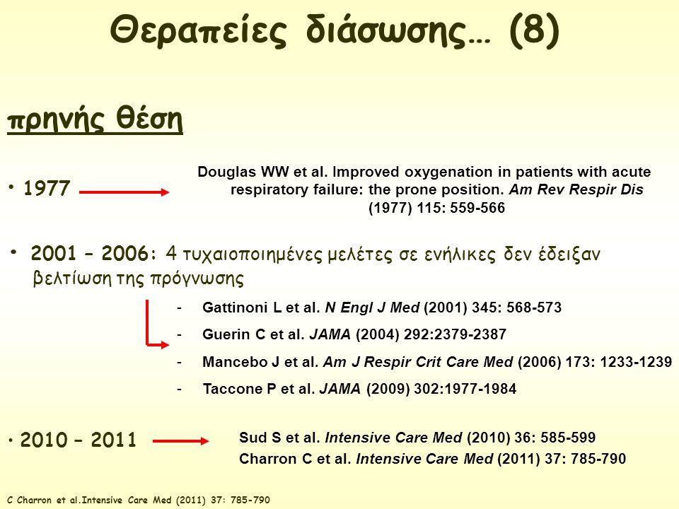 πρηνής θέση 1977 2001 – 2006: 4 τυχαιοποιημένες μελέτες σε ενήλικες δεν έδειξαν βελτίωση της πρόγνωσης 2010 – 2011 Douglas WW et al. Improved oxygenat