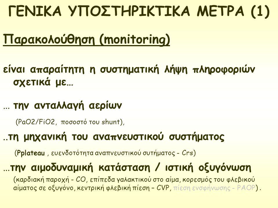 ΓΕΝΙΚΑ ΥΠΟΣΤΗΡΙΚΤΙΚΑ ΜΕΤΡΑ (1) Παρακολούθηση (monitoring) είναι απαραίτητη η συστηματική λήψη πληροφοριών σχετικά με… … την ανταλλαγή αερίων (PaO2/FiO