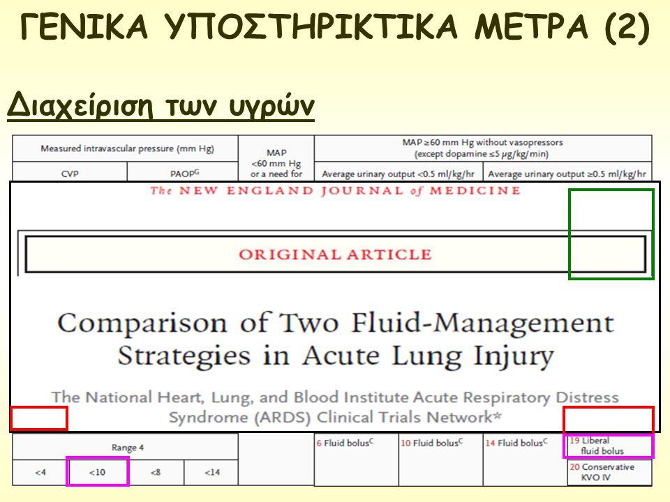 ΓΕΝΙΚΑ ΥΠΟΣΤΗΡΙΚΤΙΚΑ ΜΕΤΡΑ (2) Διαχείριση των υγρών