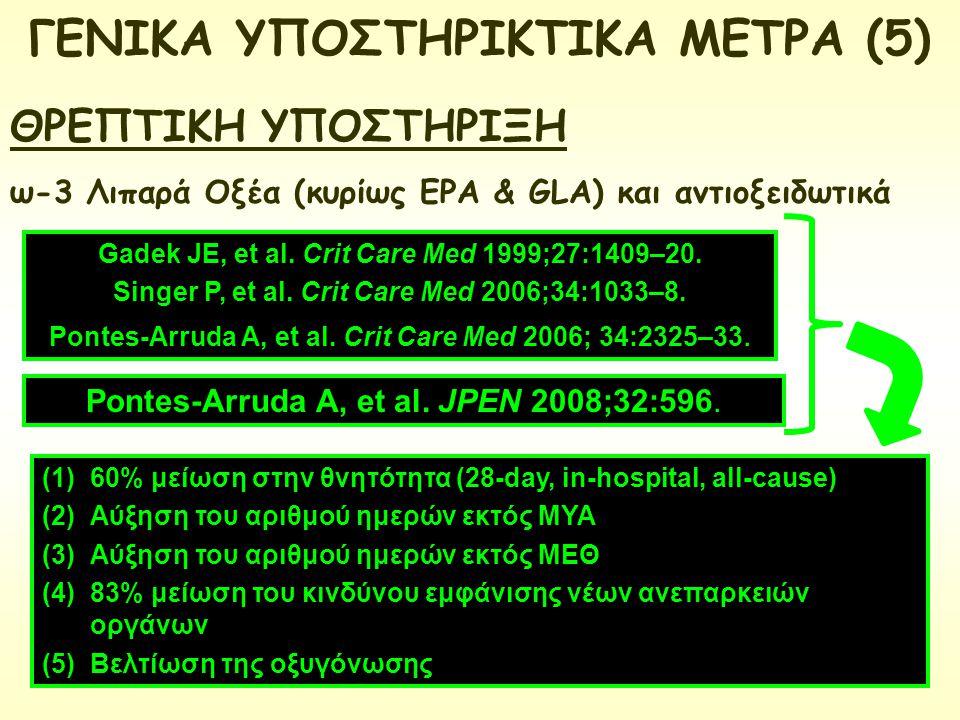 ω-3 Λιπαρά Οξέα (κυρίως EPA & GLA) και αντιοξειδωτικά Pontes-Arruda A, et al. JPEN 2008;32:596. Gadek JE, et al. Crit Care Med 1999;27:1409–20. Singer