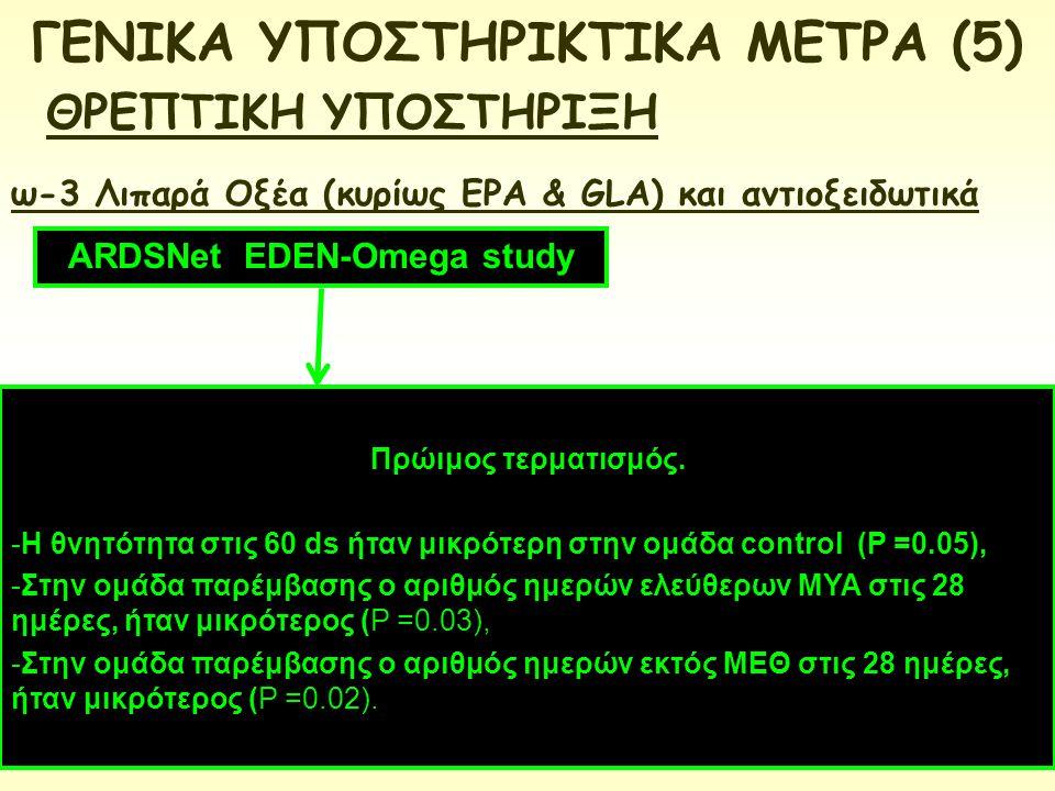 ARDSNet EDEN-Omega study ω-3 Λιπαρά Οξέα (κυρίως EPA & GLA) και αντιοξειδωτικά Πρώιμος τερματισμός. -Η θνητότητα στις 60 ds ήταν μικρότερη στην ομάδα