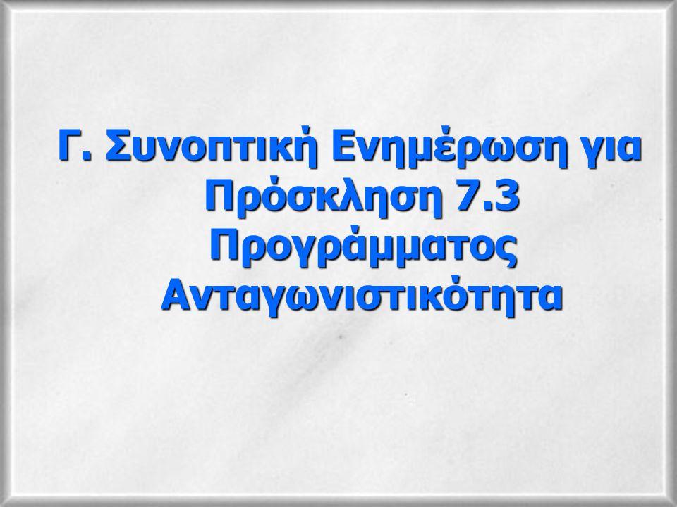 Γ. Συνοπτική Ενημέρωση για Πρόσκληση 7.3 Προγράμματος Ανταγωνιστικότητα