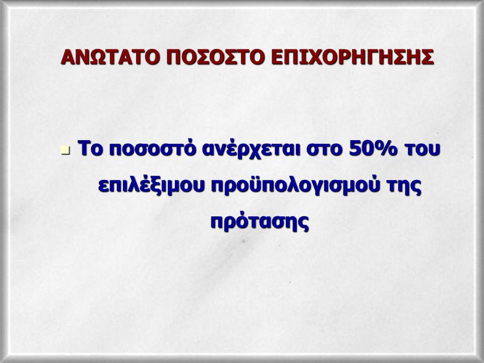 ΑΝΩΤΑΤΟ ΠΟΣΟΣΤΟ ΕΠΙΧΟΡΗΓΗΣΗΣ Το ποσοστό ανέρχεται στο 50% του επιλέξιμου προϋπολογισμού της πρότασης Το ποσοστό ανέρχεται στο 50% του επιλέξιμου προϋπολογισμού της πρότασης