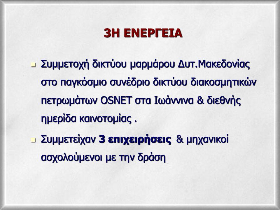 4Η ΕΝΕΡΓΕΙΑ Οργάνωση σημερινής συνάντησης εργασίας (Ημερίδα Τρανοβάλτου) των επιχειρήσεων με το IMESE με στόχο την ενημέρωση των επιχειρήσεων & την ενίσχυση δυνατότητας προώθησης των προϊόντων μαρμάρου σε νέες & διεθνείς αγορές.