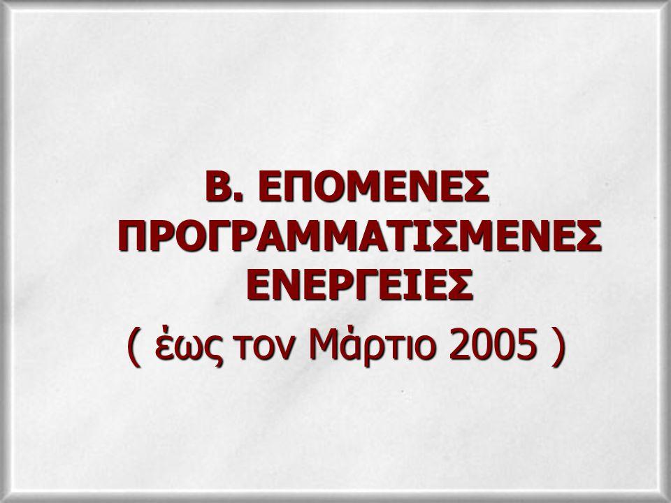 Β. ΕΠΟΜΕΝΕΣ ΠΡΟΓΡΑΜΜΑΤΙΣΜΕΝΕΣ ΕΝΕΡΓΕΙΕΣ ( έως τον Μάρτιο 2005 )