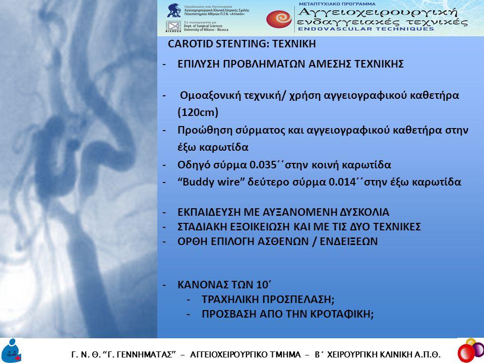 """CAROTID STENTING: TEXNIKH CAROTID STENTING: TEXNIKH Γ. Ν. Θ. """"Γ. ΓΕΝΝΗΜΑΤΑΣ"""" - ΑΓΓΕΙΟΧΕΙΡΟΥΡΓΙΚΟ ΤΜΗΜΑ - Β΄ ΧΕΙΡΟΥΡΓΙΚΗ ΚΛΙΝΙΚΗ Α.Π.Θ. -ΕΠΙΛΥΣΗ ΠΡΟΒΛΗ"""