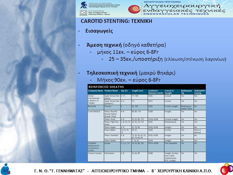 """CAROTID STENTING: TEXNIKH CAROTID STENTING: TEXNIKH Γ. Ν. Θ. """"Γ. ΓΕΝΝΗΜΑΤΑΣ"""" - ΑΓΓΕΙΟΧΕΙΡΟΥΡΓΙΚΟ ΤΜΗΜΑ - Β΄ ΧΕΙΡΟΥΡΓΙΚΗ ΚΛΙΝΙΚΗ Α.Π.Θ. -Εισαγωγείς - Ά"""