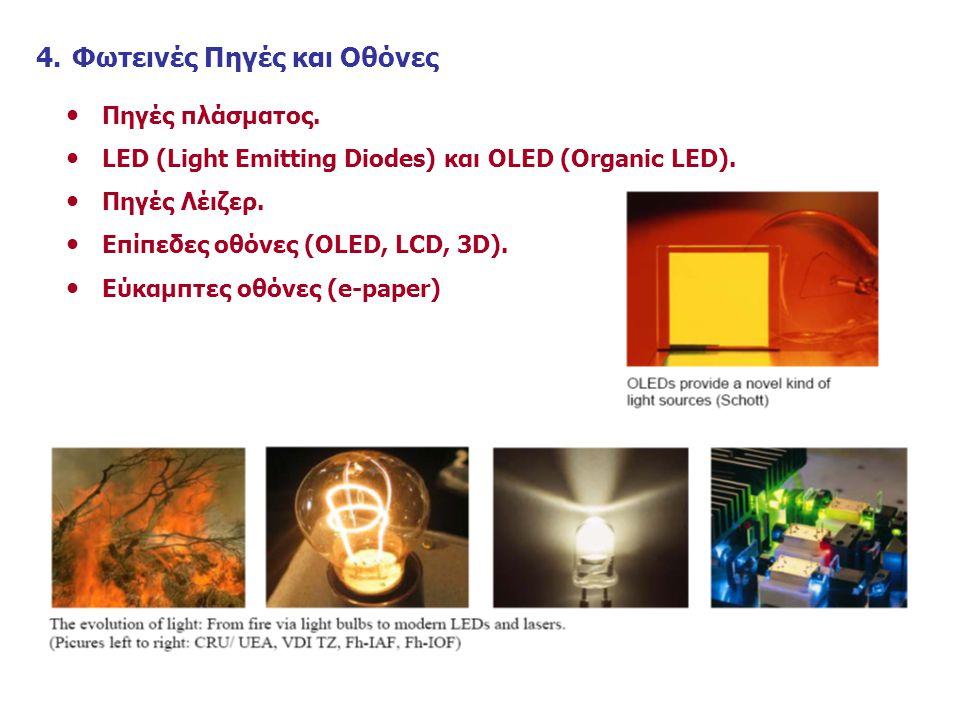 4.Φωτεινές Πηγές και Οθόνες Πηγές πλάσματος.LED (Light Emitting Diodes) και OLED (Organic LED).