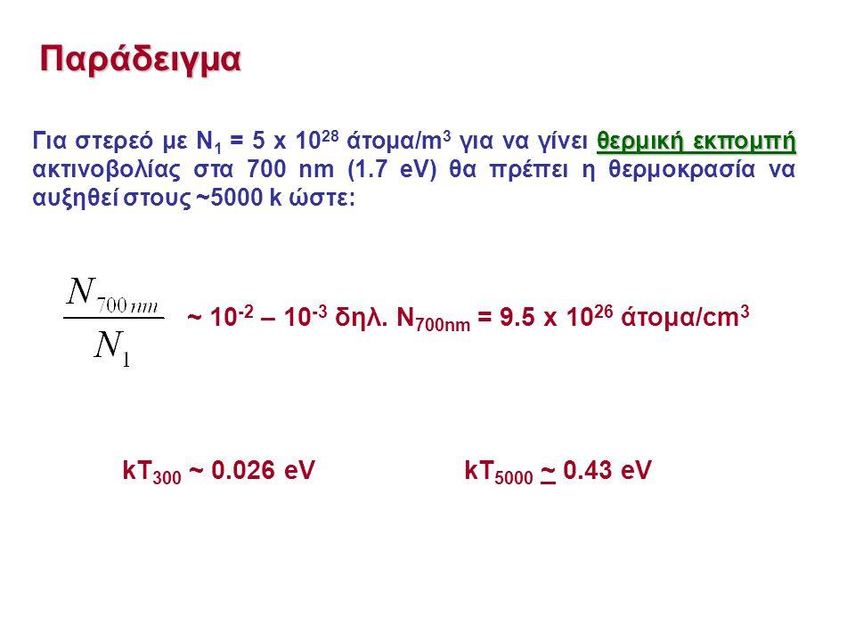 θερμική εκπομπή Για στερεό με Ν 1 = 5 x 10 28 άτομα/m 3 για να γίνει θερμική εκπομπή ακτινοβολίας στα 700 nm (1.7 eV) θα πρέπει η θερμοκρασία να αυξηθεί στους ~5000 k ώστε: Παράδειγμα ~ 10 -2 – 10 -3 δηλ.