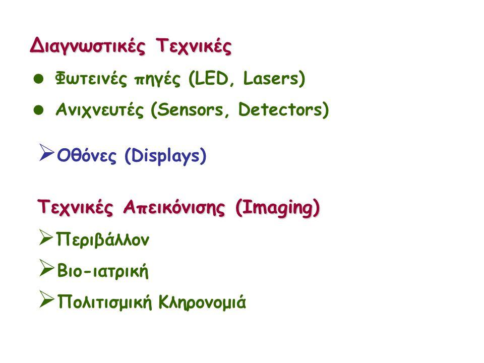 Διαγνωστικές Τεχνικές  Φωτεινές πηγές (LED, Lasers)  Ανιχνευτές (Sensors, Detectors)  Οθόνες (Displays) Τεχνικές Απεικόνισης (Imaging)  Περιβάλλον  Βιο-ιατρική  Πολιτισμική Κληρονομιά