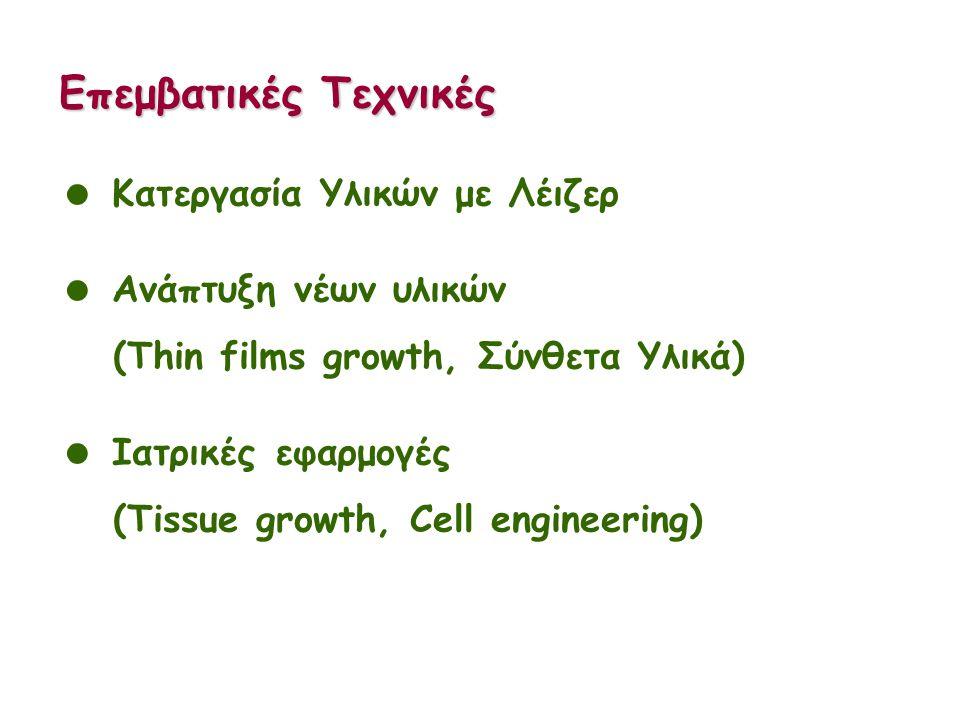 Επεμβατικές Τεχνικές  Κατεργασία Υλικών με Λέιζερ  Ανάπτυξη νέων υλικών (Thin films growth, Σύνθετα Υλικά)  Ιατρικές εφαρμογές (Tissue growth, Cell engineering)
