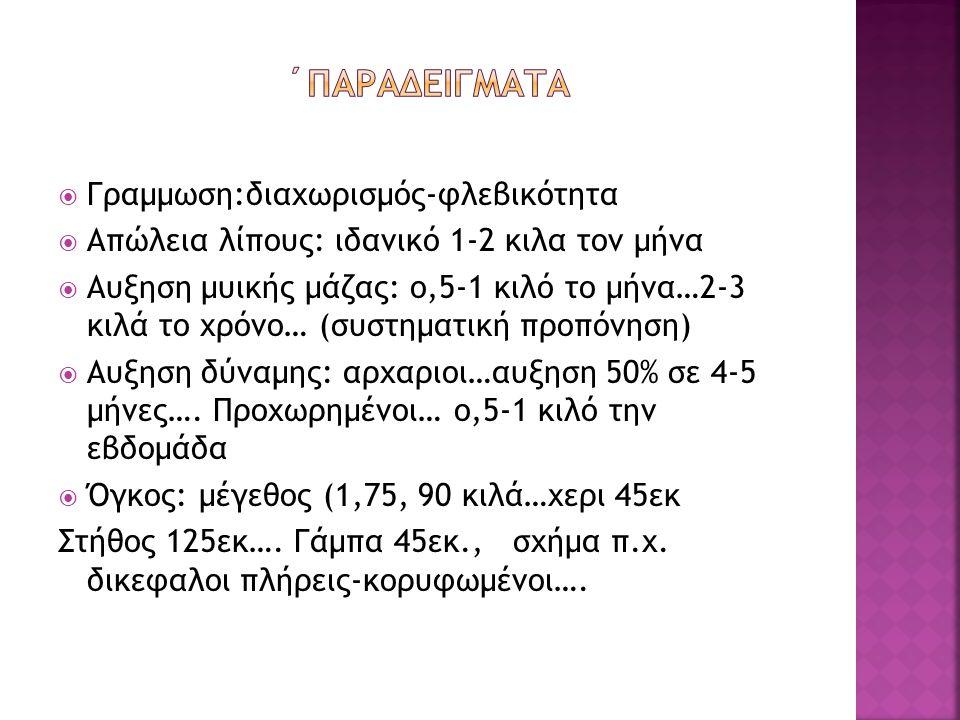  Γραμμωση:διαχωρισμός-φλεβικότητα  Απώλεια λίπους: ιδανικό 1-2 κιλα τον μήνα  Αυξηση μυικής μάζας: ο,5-1 κιλό το μήνα…2-3 κιλά το χρόνο… (συστηματική προπόνηση)  Αυξηση δύναμης: αρχαριοι…αυξηση 50% σε 4-5 μήνες….