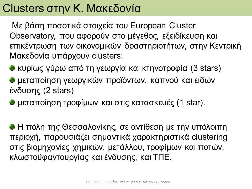 Με βάση ποσοτικά στοιχεία του European Cluster Observatory, που αφορούν στο μέγεθος, εξειδίκευση και επικέντρωση των οικονομικών δραστηριοτήτων, στην Κεντρική Μακεδονία υπάρχουν clusters: κυρίως γύρω από τη γεωργία και κτηνοτροφία (3 stars) μεταποίηση γεωργικών προϊόντων, καπνού και ειδών ένδυσης (2 stars) μεταποίηση τροφίμων και στις κατασκευές (1 star).