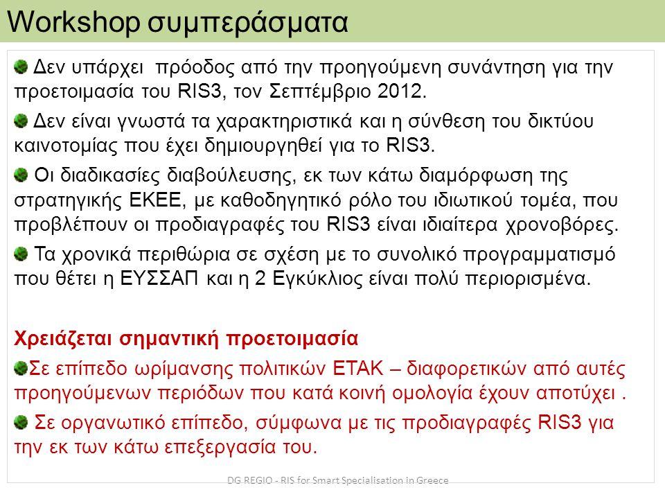 Workshop συμπεράσματα DG REGIO - RIS for Smart Specialisation in Greece Δεν υπάρχει πρόοδος από την προηγούμενη συνάντηση για την προετοιμασία του RIS3, τον Σεπτέμβριο 2012.