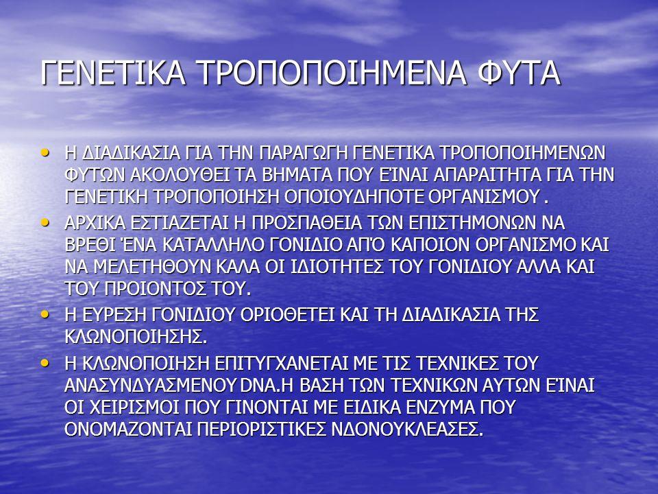 ΠΙΘΑΝΟΙ ΚΙΝΔΥΝΟΙ ΤΩΝ ΓΕΝΕΤΙΚΑ ΤΡΟΠΟΠΟΙΗΜΕΝΩΝ ΤΡΟΦΙΜΩΝ ΠΙΘΑΝΟΙ ΒΙΟΛΟΓΙΚΟΙ ΚΙΝΔΥΝΟΙ ΠΙΘΑΝΟΙ ΒΙΟΛΟΓΙΚΟΙ ΚΙΝΔΥΝΟΙ ΚΑΤΑΡΓΗΣΗ ΦΥΣΙΚΩΝ ΓΕΝΕΤΙΚΩΝ ΦΡΑΓΜΩΝ ΚΑΤΑΡΓΗΣΗ ΦΥΣΙΚΩΝ ΓΕΝΕΤΙΚΩΝ ΦΡΑΓΜΩΝ ΕΝΣΩΜΑΤΩΣΗ ΞΕΝΟΥ ΓΕΝΕΤΙΚΟΥ ΥΛΙΚΟΥ ΣΕ ΤΥΧΑΙΕΣ ΘΕΣΕΙΣ ΣΤΟ ΓΟΝΙΔΙΩΜΑ ΕΝΌΣ ΦΥΤΟΥ Η ΖΩΟΥ ΕΝΣΩΜΑΤΩΣΗ ΞΕΝΟΥ ΓΕΝΕΤΙΚΟΥ ΥΛΙΚΟΥ ΣΕ ΤΥΧΑΙΕΣ ΘΕΣΕΙΣ ΣΤΟ ΓΟΝΙΔΙΩΜΑ ΕΝΌΣ ΦΥΤΟΥ Η ΖΩΟΥ ΕΙΣΑΓΩΓΗ ΡΥΘΜΙΣΤΙΚΩΝ ΑΛΛΗΛΟΥΧΙΩΝ ΕΙΣΑΓΩΓΗ ΡΥΘΜΙΣΤΙΚΩΝ ΑΛΛΗΛΟΥΧΙΩΝ ΧΡΗΣΗ ΦΟΡΕΩΝ ΓΙΑ ΤΗ ΜΕΤΑΦΟΡΑ ΓΟΝΙΔΙΩΝ ΧΡΗΣΗ ΦΟΡΕΩΝ ΓΙΑ ΤΗ ΜΕΤΑΦΟΡΑ ΓΟΝΙΔΙΩΝ ΠΙΘΑΝΟΙ ΠΕΡΙΒΑΛΛΟΝΤΙΚΟΙ ΚΙΝΔΥΝΟΙ ΜΕΤΑΦΟΡΑ ΓΟΝΙΔΙΩΝ ΣΤΟ ΠΕΡΙΒΑΛΛΟΝ ΜΕΤΑΦΟΡΑ ΓΟΝΙΔΙΩΝ ΣΤΟ ΠΕΡΙΒΑΛΛΟΝ ΔΗΜΙΟΥΡΓΙΑ Bt-ΑΝΘΕΚΤΙΚΩΝ ΕΝΤΟΜΩΝ ΔΗΜΙΟΥΡΓΙΑ Bt-ΑΝΘΕΚΤΙΚΩΝ ΕΝΤΟΜΩΝ ΕΠΙΔΡΑΣΗ ΤΗΣ Bt-ΤΟΞΙΝΗΣ ΣΕ ΕΝΤΟΜΑ ΜΗ-ΣΤΟΧΟΥΣ ΕΠΙΔΡΑΣΗ ΤΗΣ Bt-ΤΟΞΙΝΗΣ ΣΕ ΕΝΤΟΜΑ ΜΗ-ΣΤΟΧΟΥΣ ΑΥΞΗΣΗ ΣΤΗ ΧΡΗΣΗ ΖΙΖΑΝΙΟΚΤΟΝΩΝ ΑΥΞΗΣΗ ΣΤΗ ΧΡΗΣΗ ΖΙΖΑΝΙΟΚΤΟΝΩΝ