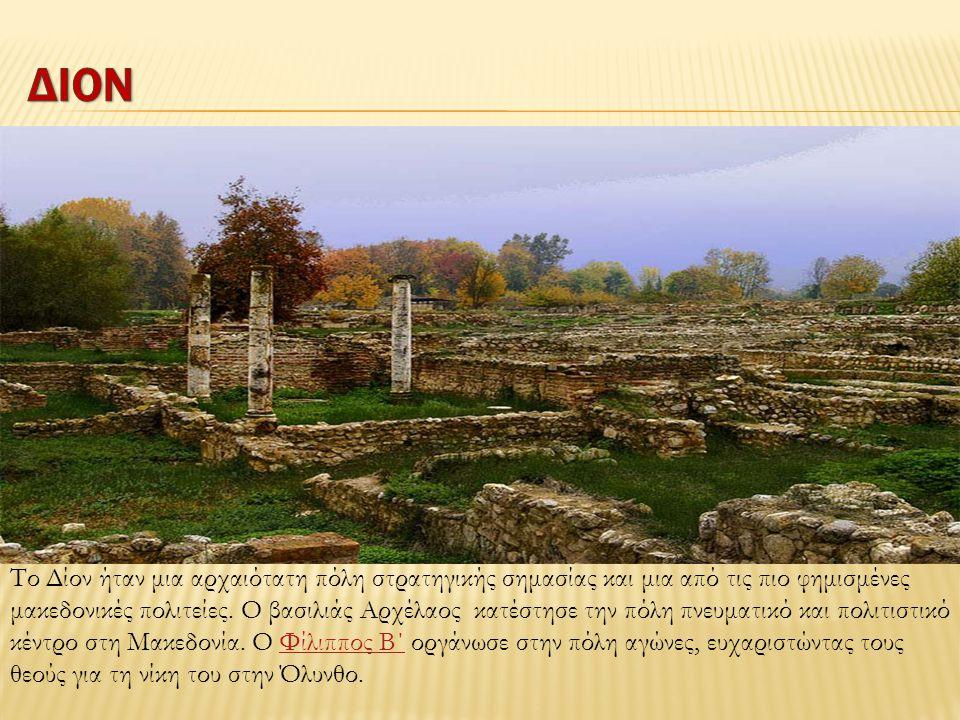 Το Δίον ήταν μια αρχαιότατη πόλη στρατηγικής σημασίας και μια από τις πιο φημισμένες μακεδονικές πολιτείες. Ο βασιλιάς Aρχέλαος κατέστησε την πόλη πνε