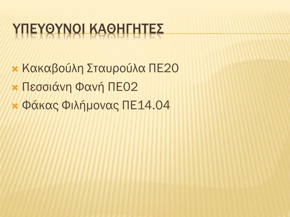  Κακαβούλη Σταυρούλα ΠΕ20  Πεσσιάνη Φανή ΠΕ02  Φάκας Φιλήμονας ΠΕ14.04