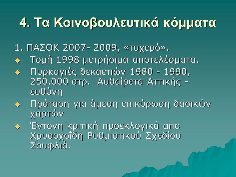 4.Τα Κοινοβουλευτικά κόμματα 1. ΠΑΣΟΚ 2007- 2009, «τυχερό».