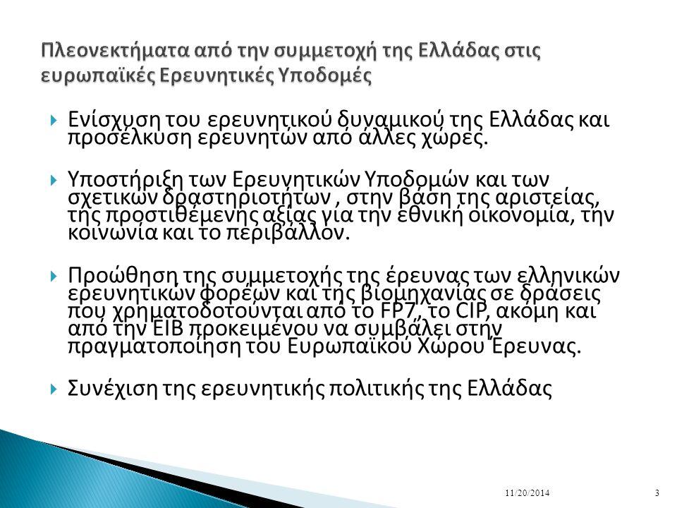  Ενίσχυση του ερευνητικού δυναμικού της Ελλάδας και προσέλκυση ερευνητών από άλλες χώρες.
