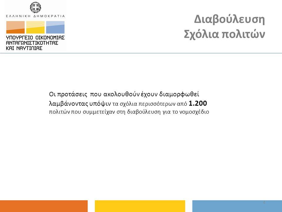Διαβούλευση Σχόλια πολιτών 4 Οι προτάσεις που ακολουθούν έχουν διαμορφωθεί λαμβάνοντας υπόψιν τα σχόλια περισσότερων από 1.200 πολιτών που συμμετείχαν στη διαβούλευση για το νομοσχέδιο