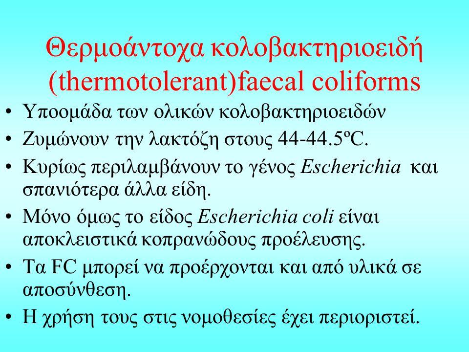 Θερμοάντοχα κολοβακτηριοειδή (thermotolerant)faecal coliforms Υποομάδα των ολικών κολοβακτηριοειδών Ζυμώνουν την λακτόζη στους 44-44.5ºC. Κυρίως περιλ