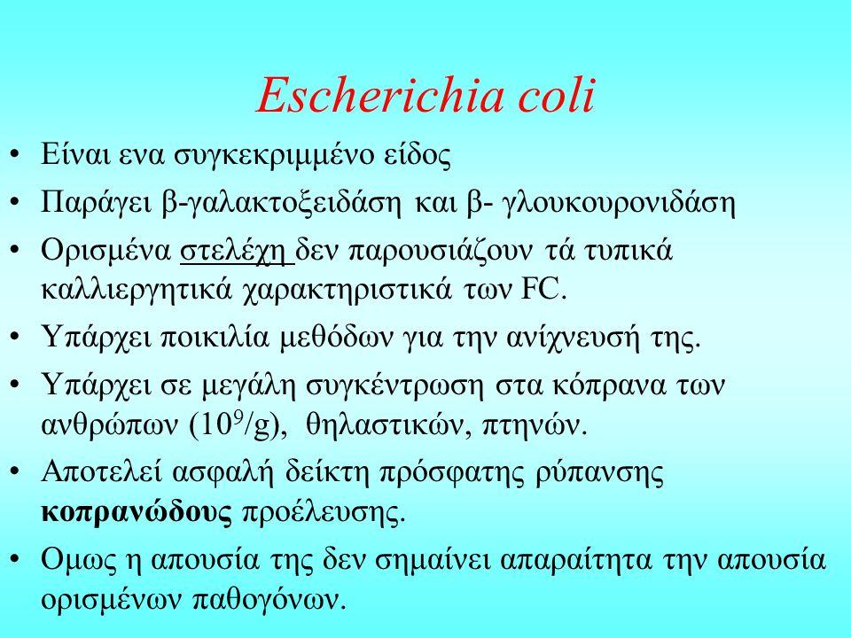Escherichia coli Eίναι ενα συγκεκριμμένο είδος Παράγει β-γαλακτοξειδάση και β- γλουκουρονιδάση Ορισμένα στελέχη δεν παρουσιάζουν τά τυπικά καλλιεργητι
