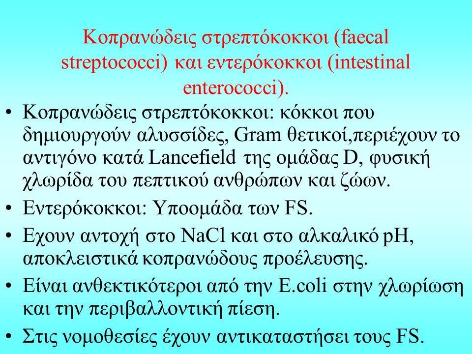 Κοπρανώδεις στρεπτόκοκκοι (faecal streptococci) και εντερόκοκκοι (intestinal enterococci). Κοπρανώδεις στρεπτόκοκκοι: κόκκοι που δημιουργούν αλυσσίδες