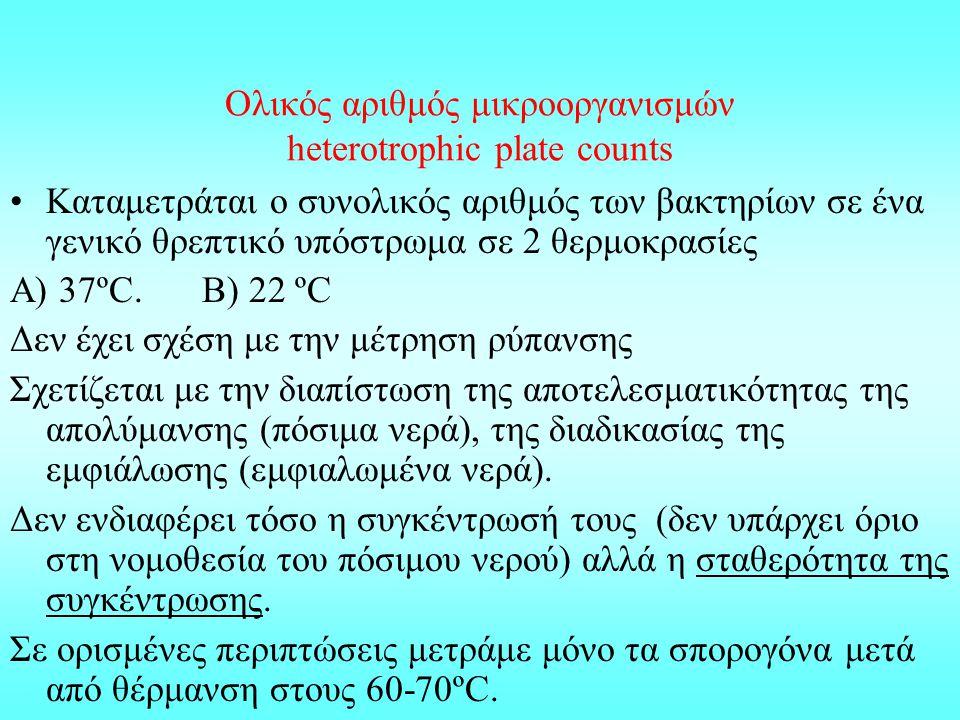 Ολικός αριθμός μικροοργανισμών heterotrophic plate counts Καταμετράται ο συνολικός αριθμός των βακτηρίων σε ένα γενικό θρεπτικό υπόστρωμα σε 2 θερμοκρ