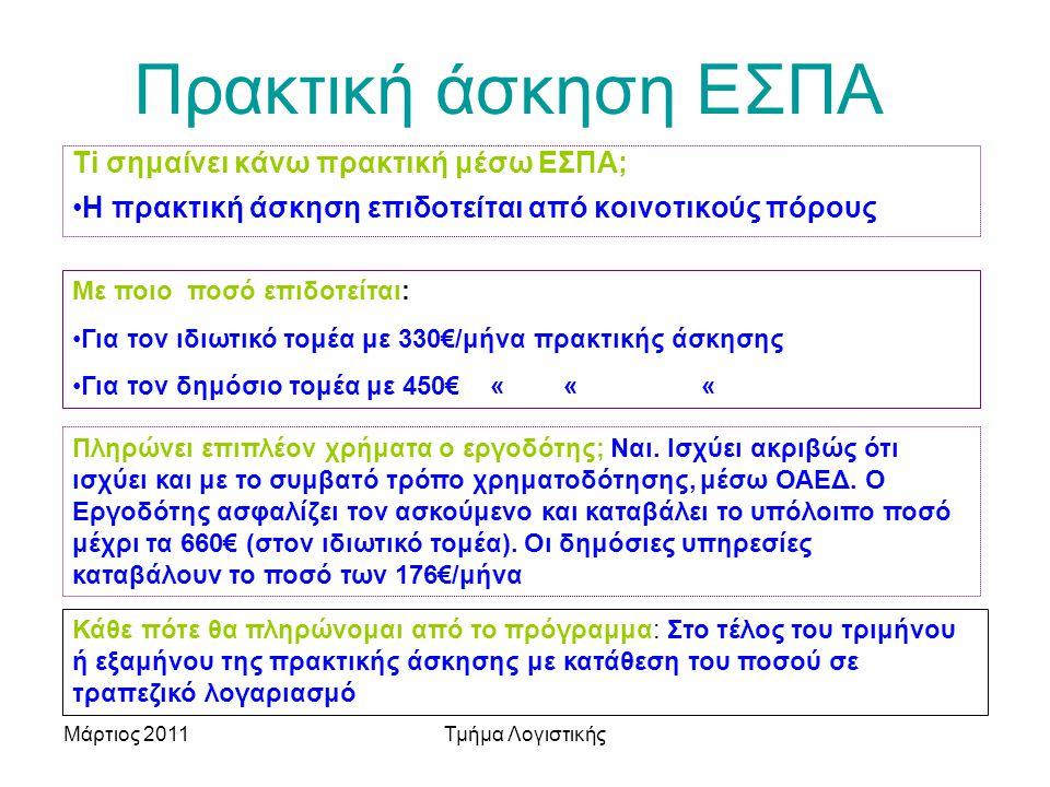 Μάρτιος 2011Τμήμα Λογιστικής Πρακτική άσκηση ΕΣΠΑ Με ποιο ποσό επιδοτείται: Για τον ιδιωτικό τομέα με 330€/μήνα πρακτικής άσκησης Για τον δημόσιο τομέα με 450€ « « « Ti σημαίνει κάνω πρακτική μέσω ΕΣΠΑ; Η πρακτική άσκηση επιδοτείται από κοινοτικούς πόρους Πληρώνει επιπλέον χρήματα ο εργοδότης; Ναι.