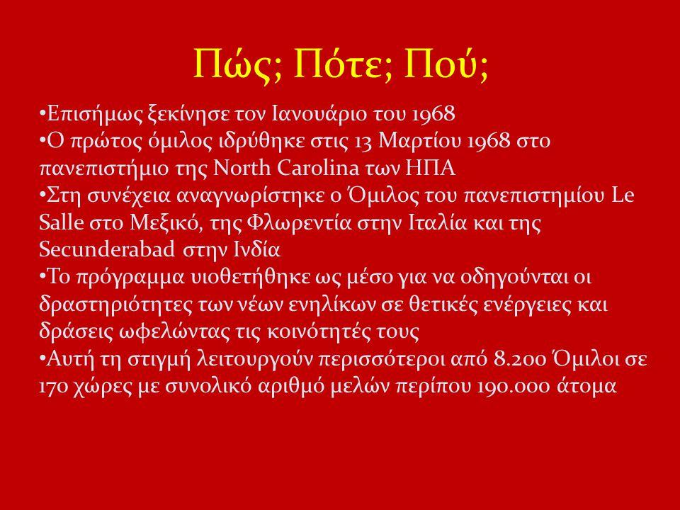 Πώς; Πότε; Πού; Επισήμως ξεκίνησε τον Ιανουάριο του 1968 O πρώτος όμιλος ιδρύθηκε στις 13 Μαρτίου 1968 στο πανεπιστήμιο της North Carolina των ΗΠΑ Στη