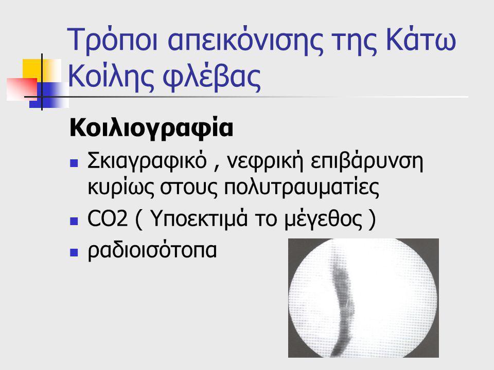 Τρόποι απεικόνισης της Κάτω Κοίλης φλέβας Κοιλιογραφία Σκιαγραφικό, νεφρική επιβάρυνση κυρίως στους πολυτραυματίες CO2 ( Yποεκτιμά το μέγεθος ) ραδιοισότοπα