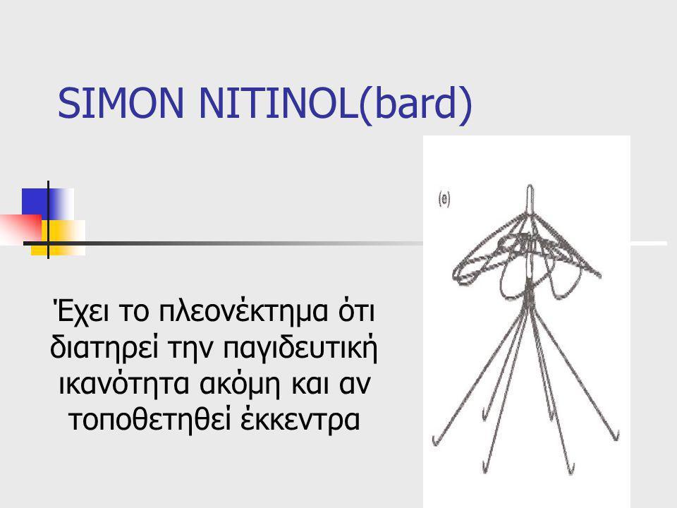 SIMON NITINOL(bard) Έχει το πλεονέκτημα ότι διατηρεί την παγιδευτική ικανότητα ακόμη και αν τοποθετηθεί έκκεντρα