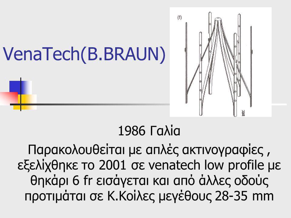 VenaTech(B.BRAUN) 1986 Γαλία Παρακολουθείται με απλές ακτινογραφίες, εξελίχθηκε το 2001 σε venatech low profile με θηκάρι 6 fr εισάγεται και από άλλες οδούς προτιμάται σε Κ.Κοίλες μεγέθους 28-35 mm