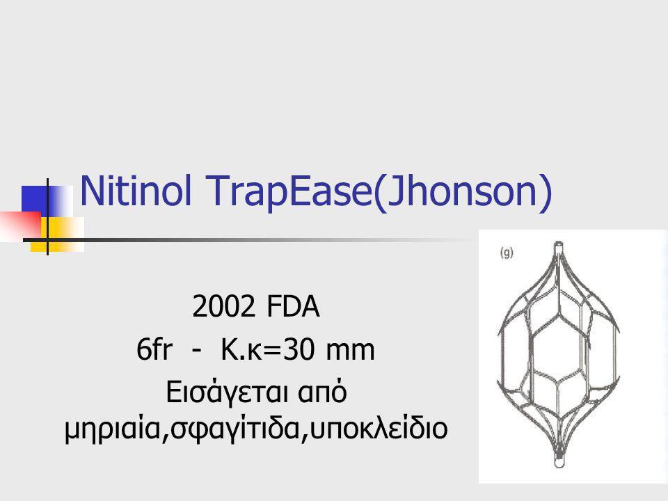 Nitinol TrapEase(Jhonson) 2002 FDA 6fr - Κ.κ=30 mm Εισάγεται από μηριαία,σφαγίτιδα,υποκλείδιο