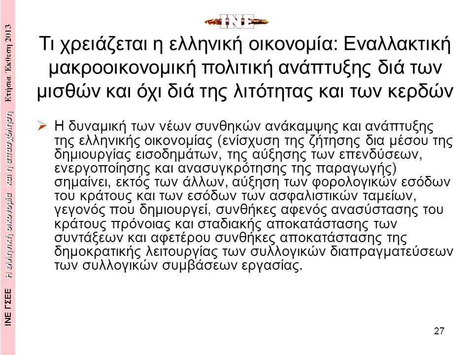 28  Η άμεση (ανάσχεση της ύφεσης), η βραχυπρόθεσμη (δημιουργία θέσεων εργασίας) πορεία ανάκαμψης της ελληνικής οικονομίας ακολουθείται από την μεσο- μακροπρόθεσμη πορεία ανάπτυξης, η οποία προϋποθέτει την διαμόρφωση ενός νέου αναπτυξιακού προτύπου με θεμελιώδη χαρακτηριστικά: την καινοτομική, παραγωγική-τεχνολογική ανασυγκρότηση, την επενδυτική (δημόσια-ιδιωτική) αναζωογόνηση, την μεταμόρφωση (clusters-ολοκληρωμένα συμπλέγματα δραστηριοτήτων) της κλαδικής διάρθρωσης της ελληνικής οικονομίας σε περιφερειακό και τοπικό επίπεδο, για την δημιουργία δυναμικών πόλων ανάπτυξης, καινοτομίας, απασχόλησης, παραγωγικότητας και διαρθρωτικής ανταγωνιστικότητας, την ποιότητα της παραγωγής και των εργασιακών σχέσεων, την καταπολέμηση της ανεργίας, την αποκατάσταση της εισοδηματικής και κοινωνικής καθίζησης, κλπ.