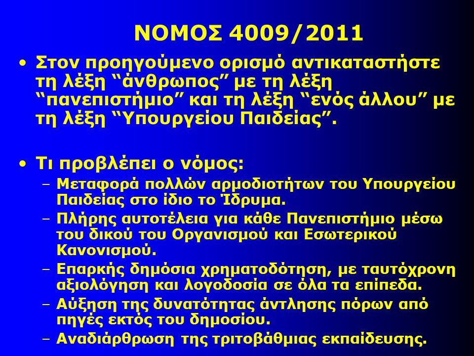 ΝΟΜΟΣ 4009/2011 Στον προηγούμενο ορισμό αντικαταστήστε τη λέξη άνθρωπος με τη λέξη πανεπιστήμιο και τη λέξη ενός άλλου με τη λέξη Υπουργείου Παιδείας .