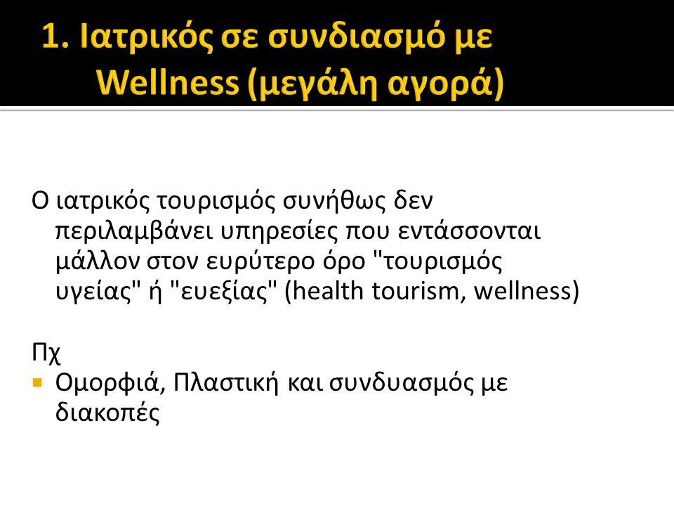 Ο ιατρικός τουρισμός συνήθως δεν περιλαμβάνει υπηρεσίες που εντάσσονται μάλλον στον ευρύτερο όρο τουρισμός υγείας ή ευεξίας (health tourism, wellness) Πχ  Ομορφιά, Πλαστική και συνδυασμός με διακοπές
