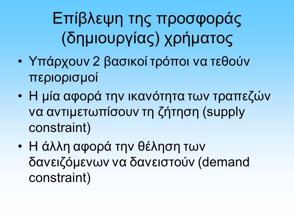 Επίβλεψη της προσφοράς (δημιουργίας) χρήματος Υπάρχουν 2 βασικοί τρόποι να τεθούν περιορισμοί Η μία αφορά την ικανότητα των τραπεζών να αντιμετωπίσουν τη ζήτηση (supply constraint) Η άλλη αφορά την θέληση των δανειζόμενων να δανειστούν (demand constraint)